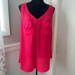 Torrid Pink Sleeveless Chiffon Top - Size 0X